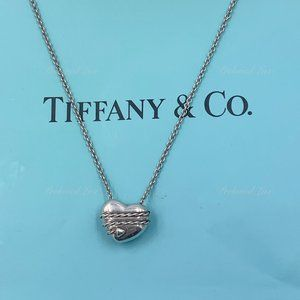 Authentic Tiffany & Co Silver Solid Heart Necklace